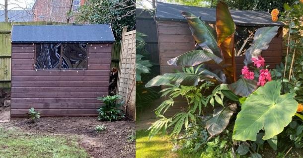 garden shed in winter verses summer