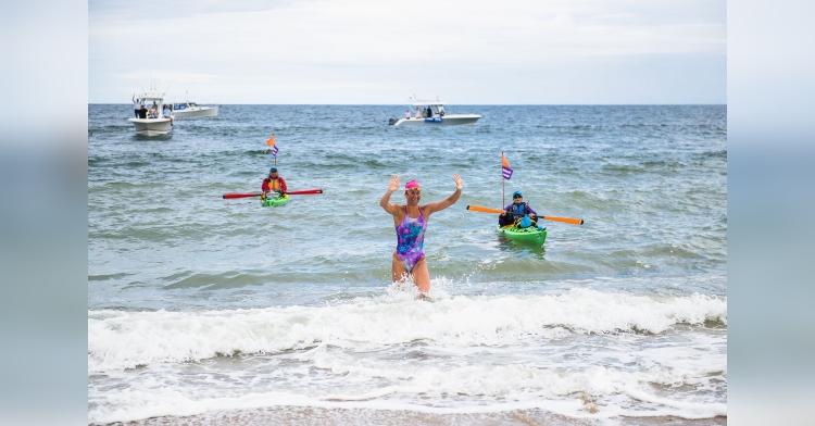 Elizabeth Beisel historic swim to Block Island