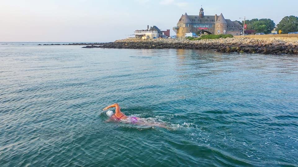Elizabeth Beisel swimming in ocean
