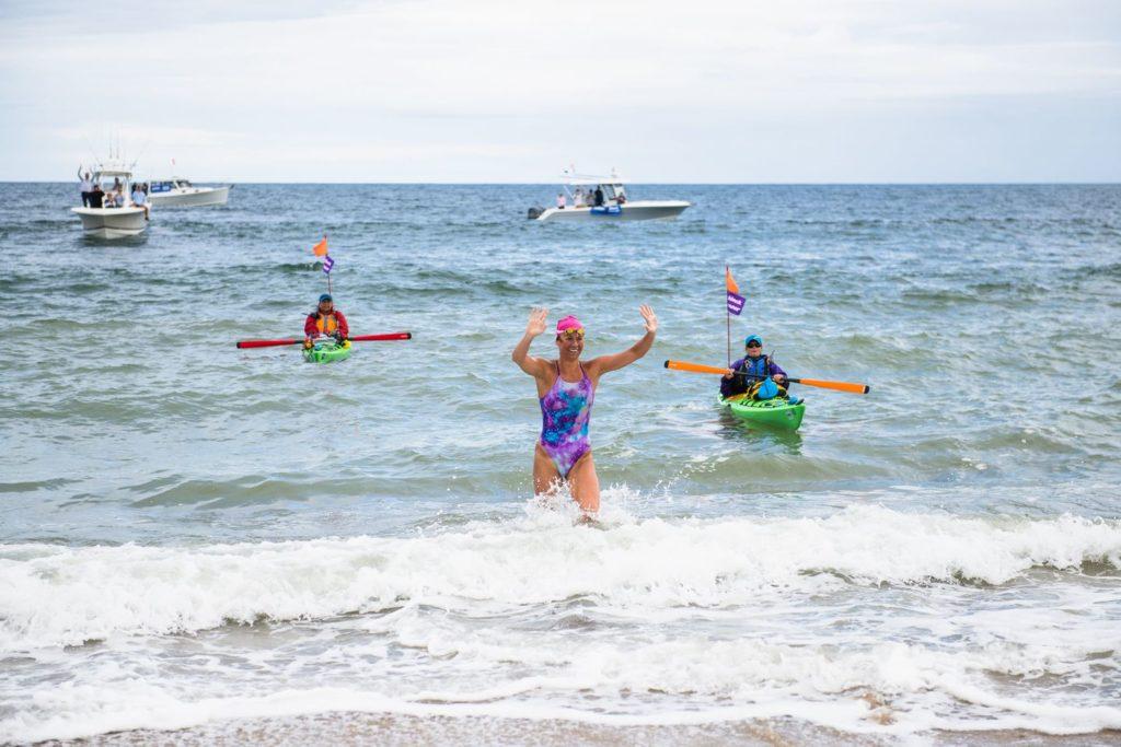 Elizabeth Beisel finishing Block Island swim