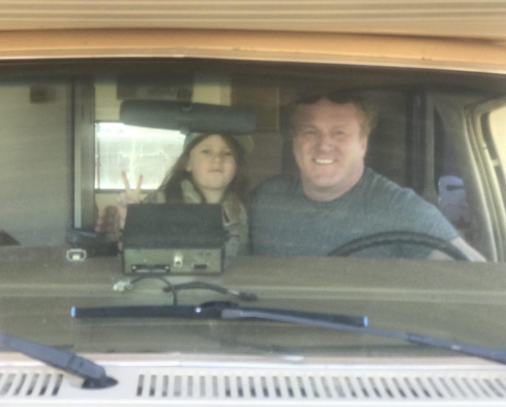 Woody and Luna Faircloth in an RV