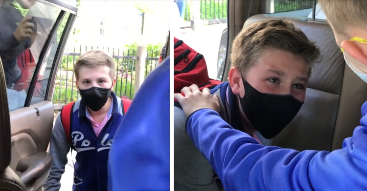 11 year old boy wearing a mask standing in front of open car door with eyes wide at the person in front of him and that same boy inside the car with tears in his eyes and another 11 year old's hand on his shoulder