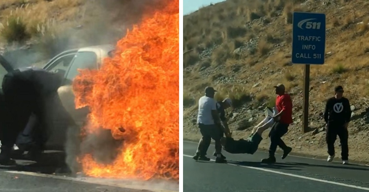 back of a car engulfed in flames with a man puling someone out of the front seat and two men caring another man down the road with a third man standing nearby