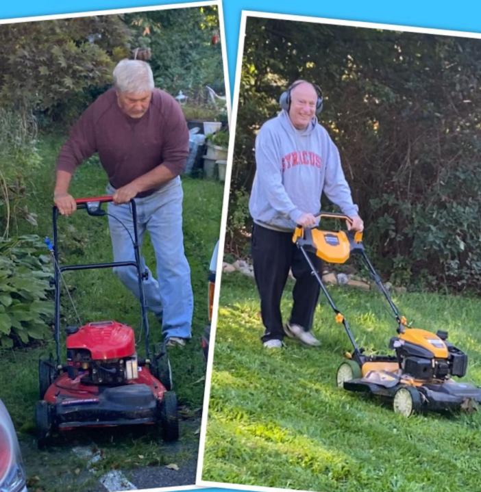 two older men mowing lawns