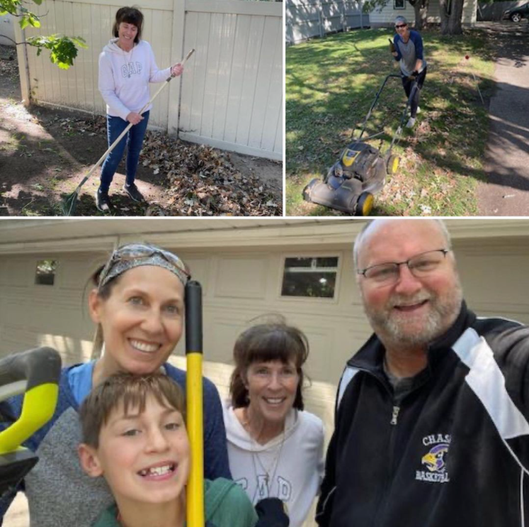 a woman raking leaves, another person mowing a lawn, and a group of three adults and a child smiling in front of a closed garage door