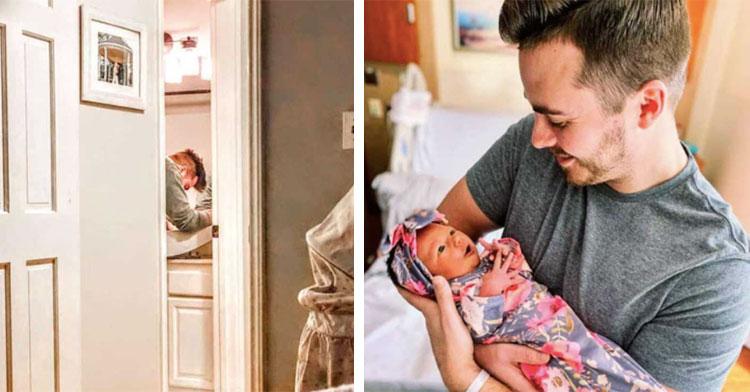 dad holding infant daughter