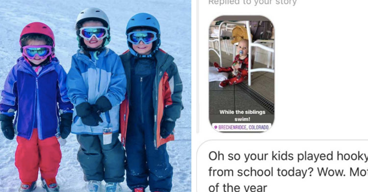 three kids in ski gear in the snow next to social media message about playing hooky