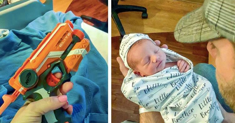 hand holding nerf gun next to dad holding baby